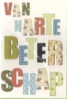 Van harte beterschap  #Beterschapskaart met grote letter #beterschapskaart man en vrouw