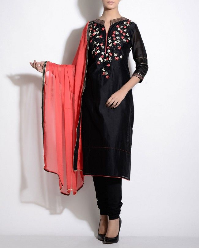Black Suit with Floral Embroidered Yoke