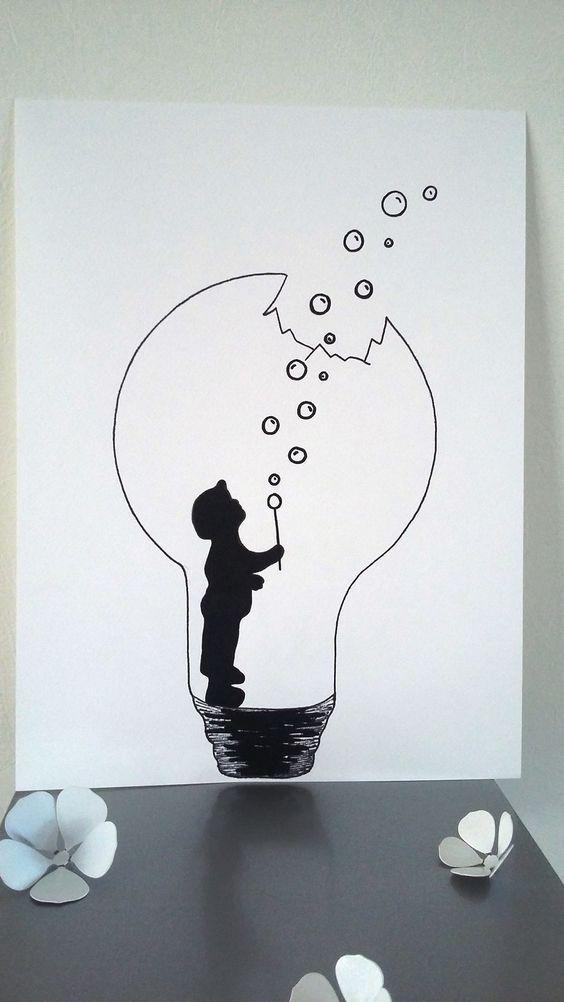 """Affiche Illustration Noir et blanc ampoule """" la force de l'enfance """" : Affic… – Poster"""