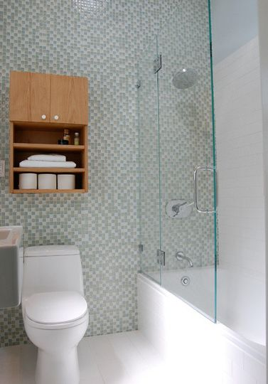 1000 ideas about tub glass door on pinterest frosted for Three quarter bathroom ideas