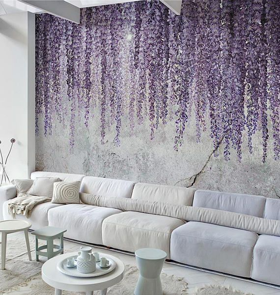 Mural wallpaper, Removable wallpaper Watercolor Wisteria – Textured Wallpaper. Temporary wallaper