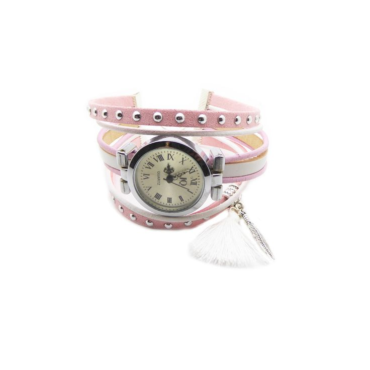Kit Bracelet montre suédine cloutée rose 5mm, cuir rond 2mm rose et blanc, cuir 5mm blanc, : Kits, tutoriels bijoux par mf-apprets-et-perles