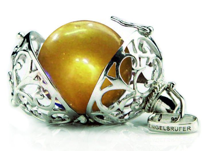 24mm (Large) Silver Rhodium Plated Engeslrufer Cage Pendant & Gold Soundball R1699