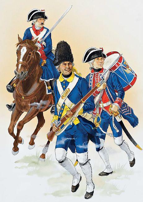 Colonial troops, Louisiana & Florida, 1769-1780s • Private, Luisiana Dragoon company, 1780s  • Grenadier, Havana Regiment, 1769-86  • Drummer, Luisiana Regiment, 1770s-80s