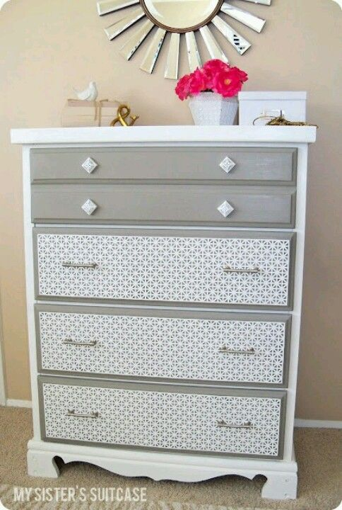 Refurbished furniture - lace over drawers then spray paint For similar ...