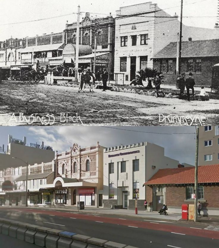 Victoria Road, Drummoyne in circa 1915 and 2014. [circa 1915 - Drummoyne Council-City of Canada Bay/2014 Google Street View. By Phil Harvey]