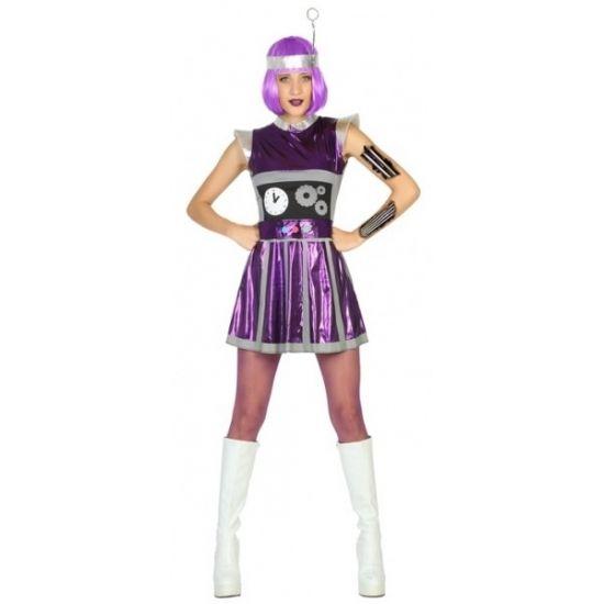 Robot verkleedkleding paars voor dames  Paars robot verkleedjurkje voor dames. Robot jurkje inclusief hoofdstuk. Materiaal: 100% polyester.  EUR 24.95  Meer informatie