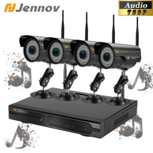 Jennov 1080p 4ch Nvr 1mp Audio Cctv Security Ip Camera P2p System Network Hdmi Ir Night Bullet Ip/network - Wireless Sh-k4-a03bj10-v95-a 4 3.6mm ( 6mm/8mm For Optional ) 36leds,day Vision,audio