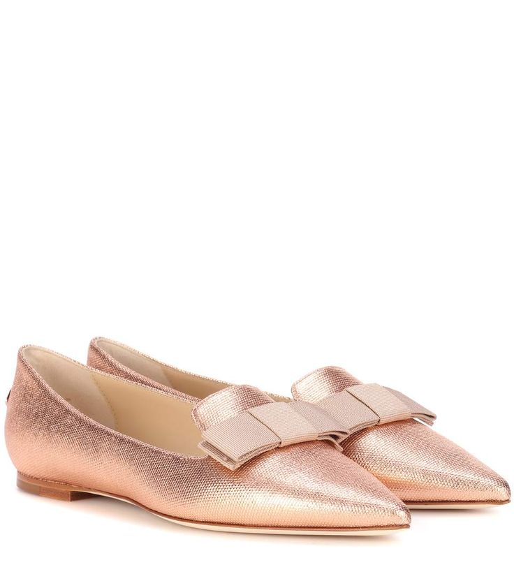 Jimmy Choo proves that flats absolutely can be elegant with these glam Gala  ballerinas. Crafted in Italy from metallic fabric, this pair come with bows  at ...