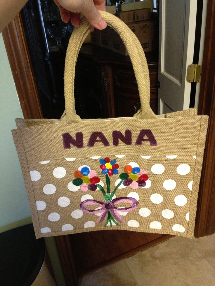 Thumbprint flowers on a tote for Nana for Mother's day :-)