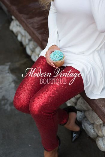 Nothin But Sequins Sparkly Holiday Leggings  Pants Red - Modern Vintage Boutique