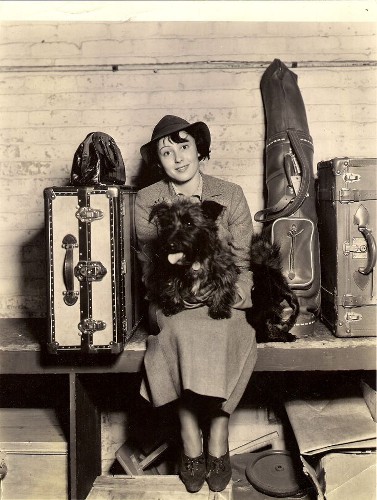 """Luise Rainer, famous European stage star said by beauty experts to have the """"most beautiful eyes on the Continent"""", arrives in Hollywood to appear in a forthcoming Metro_Goldwyn-Mayer production. She starred in Shakespearean dramas on the stage in Vienna, Berlin, Paris and London. She was accompanied by her Scotty dog, Romeo* [Press photo and caption, 1935] *in fact Luise's dog is called Johnny. See the retro-styled lookalike #shoes from #FamousFootwear"""