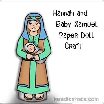 Hannah holding Baby Samuel Paper Doll Craft for Children's Ministry. Baby Samuel can be inserted and removed from Hananh's arms.