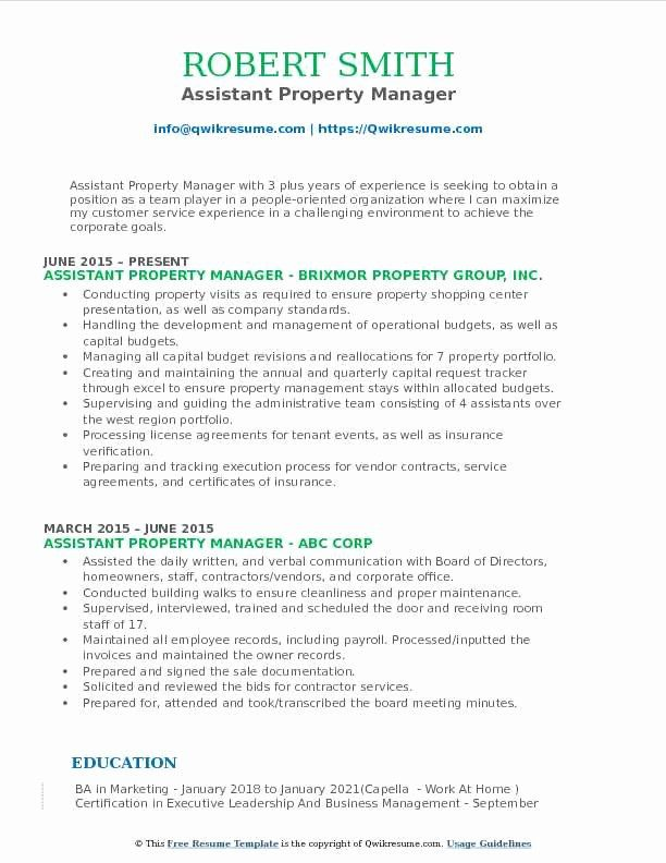 Assistant Property Manager Resume Awesome Assistant Property Manager Resume Samples