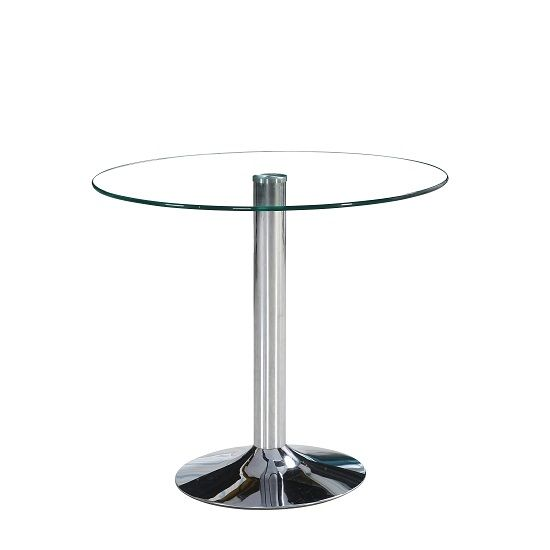 Dante Round Glass Dining Table In Clear Glass