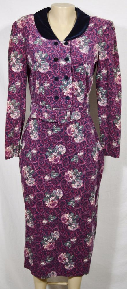 LAURA ASHLEY Vintage Black/Multicolor Floral Paisley Dress US 12 Great Britain #LauraAshley #ShirtDress #Casual