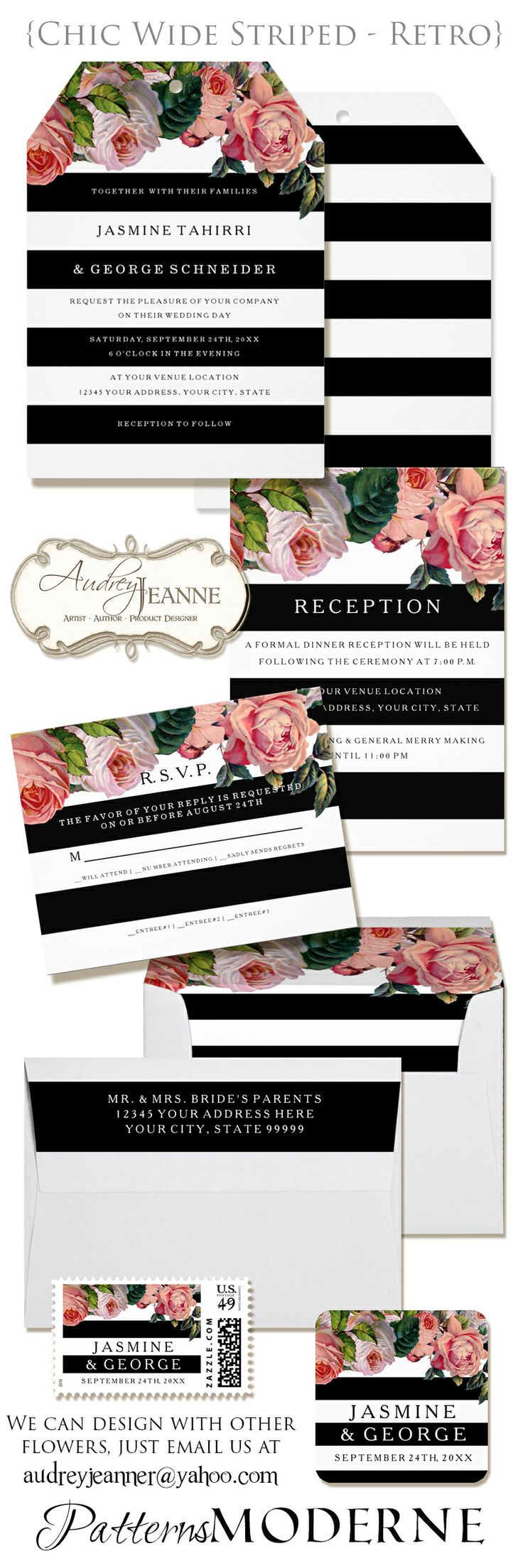 :: MODERN :: WIDE STRIPED :: RETRO FLORAL :: Black and white stripe wedding.  The graphic boldness of wide modern horizontal stripes and alternating text on the stripes is softened by the contrast with retro vintage English roses in blush pink, peach and coral.  Complete ensemble available with and without flowers for a mix n match look.
