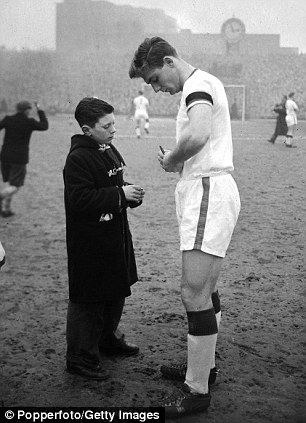"Duncan Edwards at Highbury in 1958.  One of the ""Busby babes"" lost at Munich."