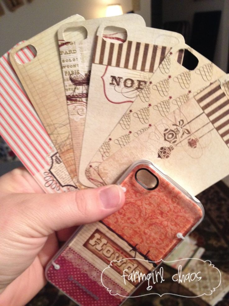 get a clear phone case, some scrapbook paper, an exacto knife, and voila! Homemade iPhone cover.