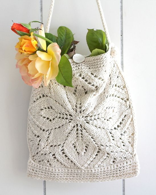 Knitting Pattern for Rachel Bag - #ad Lace purse messenger bag with long shoulder strap. It has a lacy knitted square motif on each side. Width: 22 cm Length: 27 cm