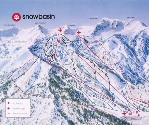 TraIl Map from the 1990's.  Skiing, Ski, Utah, Ogden, Snowbasin, Snow Basin