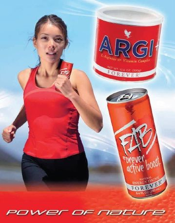Two recommended natural products to energize your body. Forever Argi+ L-arginine supplement and Forever Active Boost Natural Energy Drink