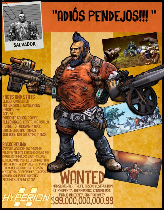 Hey, I found this really awesome Etsy listing at https://www.etsy.com/listing/277815398/borderlands-2-wanted-posters-salvador