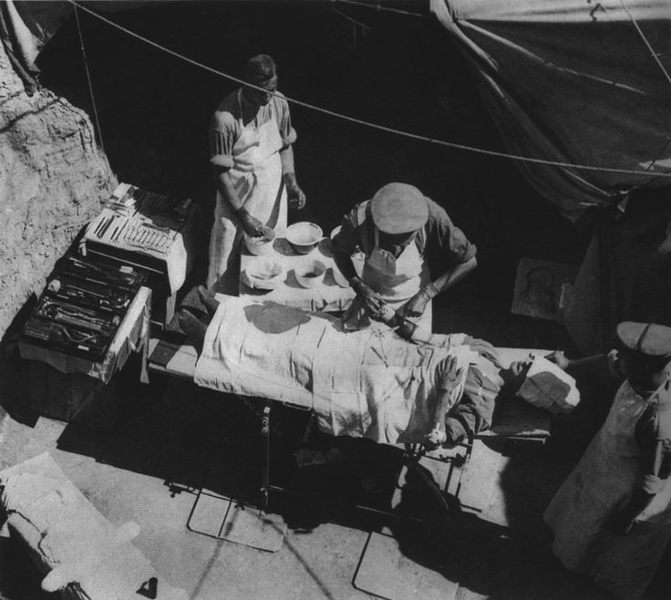 ''A field surgery at Cape Helles.'' by Ernest Brooks. Gallipoli, 1915 #WWI