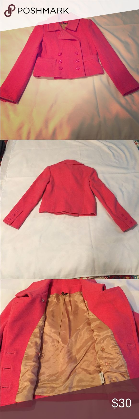 Pink cropped blazer/jacket Cute hot pink cropped blazer 80% wool. Mint Jackets & Coats Blazers