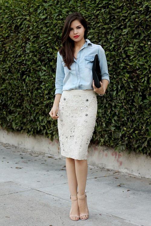 chambray & a pencil skirt