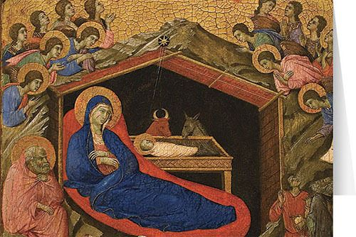 "Share the joy of the Christmas Season with these gorgeous Christmas cards! Each of the 25 cards is a reproduction of ""The Nativity with the Prophets Isaiah and Ezekiel"" by Duccio de Buoninsegna #catholic #christmas #greetingcard"