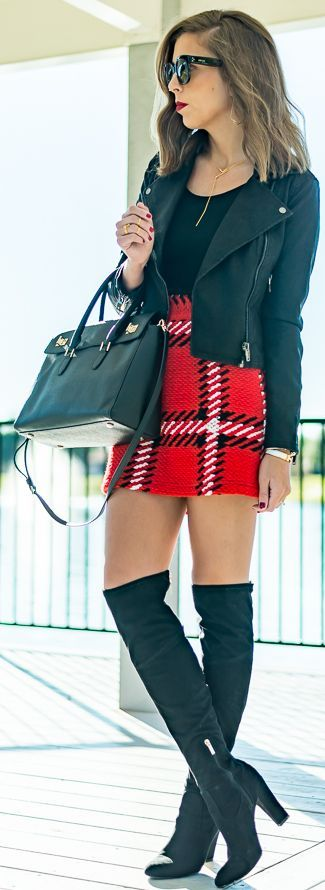 Red Tartan Plaid Skirt Fall Street Style Inspo by For The Love Of Fancy