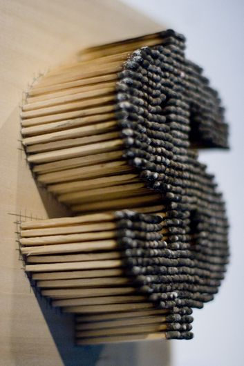 Burned Matches Dollar Sign #matches, #dollars, #art, https://facebook.com/apps/application.php?id=106186096099420