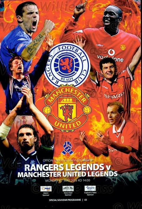 Official programme for Rangers Legends v Man Utd Legends 6th May 2013