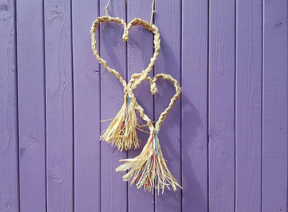 Corn Dolly Hearts Plaited Raffia Wheat Weaving Coloured Raffia Lammas Summer Decor Pagan Altar Pagan Home Decor Wiccan Decoration