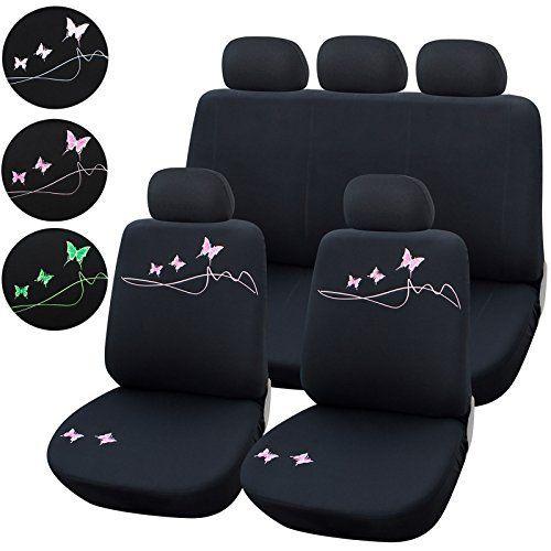 WOLTU AS7304 Couverture de siège de voiture ,housses de siège universelle polyester avec papillon,Noir Rose: Woltu élégant Universal…