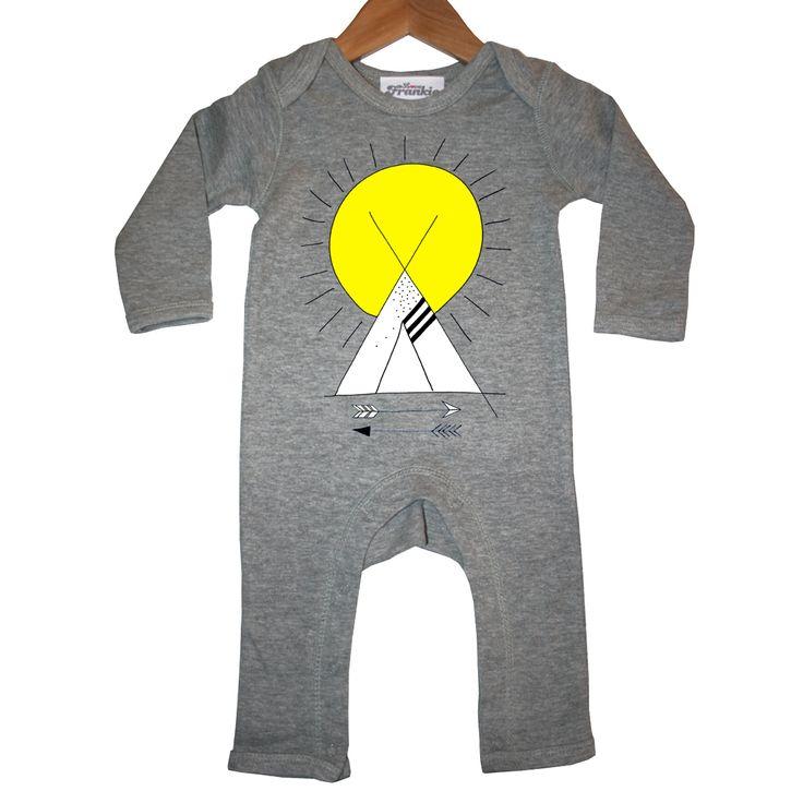 little warrior baby romper in grey marl by love frankie