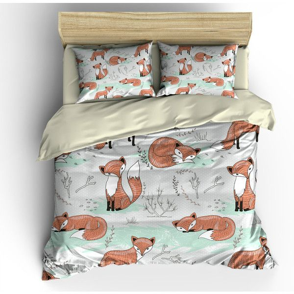 fox bedding woodland duvet cover comforter cover bedding set pillow 119 - Twin Bed Sheets