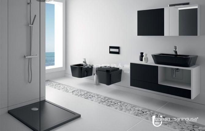 Plato de ducha extraplano de cer mica blanca o negra step - Fiora salle de bain ...
