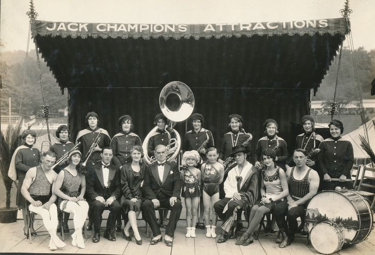 Jack Champion's Attractions. The Rosebud orchestra and other performers. #1920s #circusperformers #rosebudorchestra #vaudeville #banjo #sousaphone