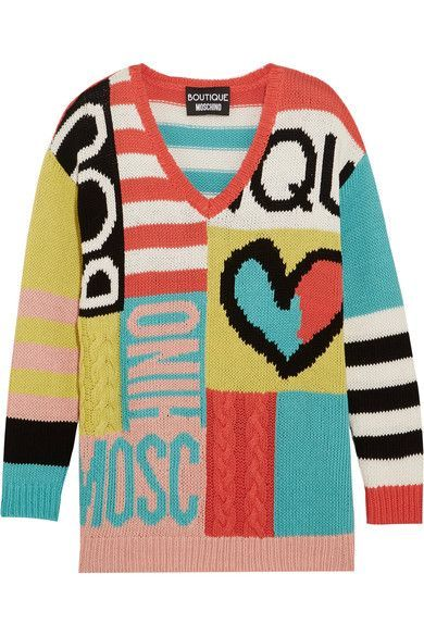 BOUTIQUE MOSCHINO Intarsia cotton sweater. #boutiquemoschino #cloth #knitwear