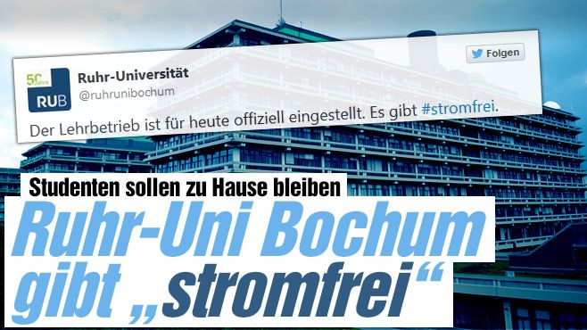 "Uni Bochum gibt Studenten ""stromfrei"" http://www.bild.de/regional/ruhrgebiet/universitaet/uni-gibt-studenten-stromfrei-40567814.bild.html ...no electricity, so that exams and lectures at Uni Bochum had to be cancelled...lol"