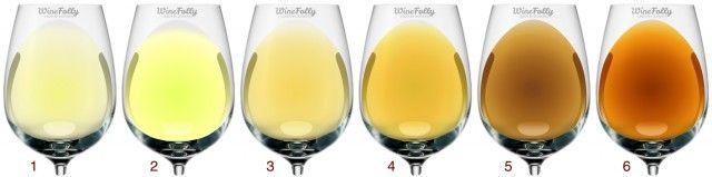 Understanding White Wines by Color: 1. Vinho Verde / Pinot Gris, 2. Sauvignon Blanc, 3. Marsanne / Chenin Blanc / Viognier, 4. Chardonnay, 5. Old White Wine, 6. Sherry