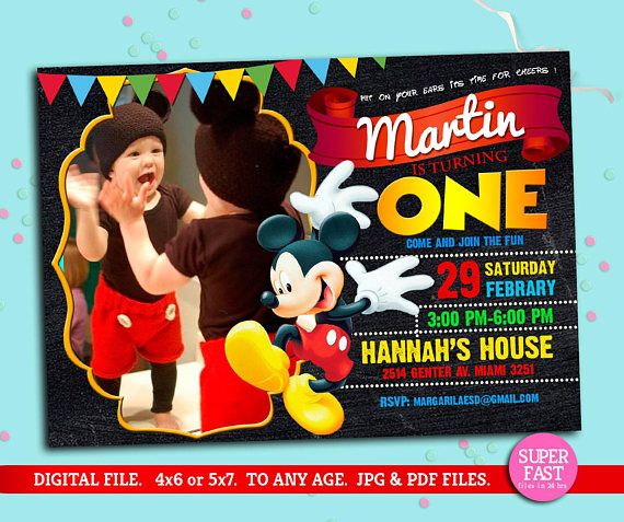 MICKEY MOUSE Invitation, mickey Invitation, Disney invitation, Mickey mouse birthday,Birthday Invitation, , to Any age. Mk04 Thank you for stopping by, please read all the instruction before making any purchase. This listing is for the creation and delivery of a DIGITAL FILE for
