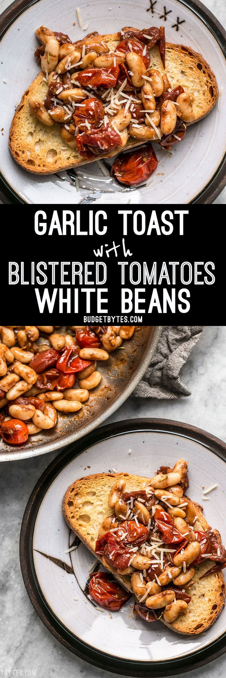 For a quick, flavorful, and light lunch, this Garlic Toast with Balsamic Tomatoes and White Beans hits the spot! BudgetBytes.com