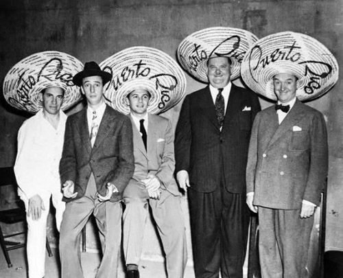 Chico Marx, Ray Bolger, John Garfield, Oliver Hardy and Stan Laurel in Puerto Rico