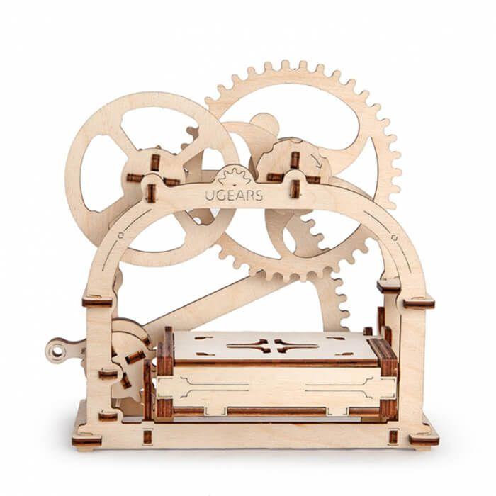 Mechanisch houten bouwpakket visitekaartjeshouder