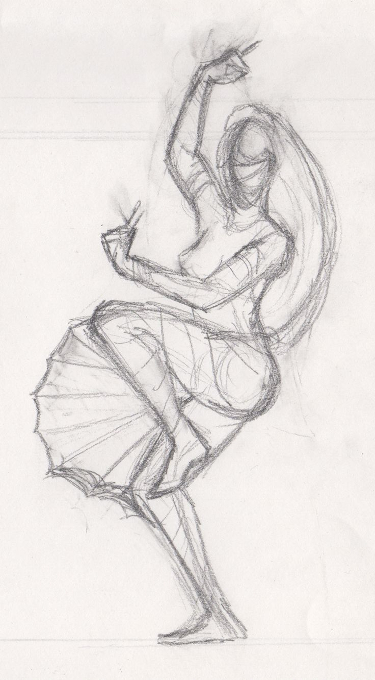 Preliminary sketch for 'Wind Lotus Dancer' painting