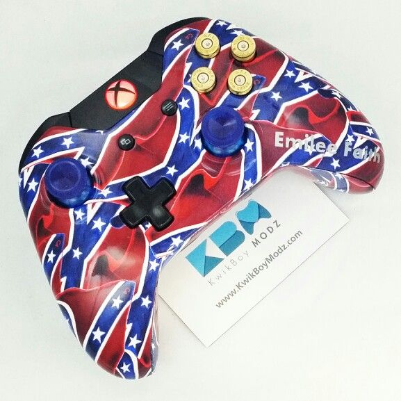 A Confederate Flag Xbox One Controller with Brass 9mm Bullet Buttons Shipping Out from www.KwikBoyModz.com #KwikBoyModz #CustomController #CustomControllers #Controller #Controllers #ModdedController #ModdedControllers #NewController #ControllerMods #Gaming #Gamer #EPGNation #EPGArmy #Gamers #NJ #XboxOne #XboxOneController #CustomXboxOneController #ModdedXboxOneController #Modded