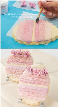 How to make beautiful Easter egg cookies with royal icing and ruffled fondant (Bobbie's Baking Blog).